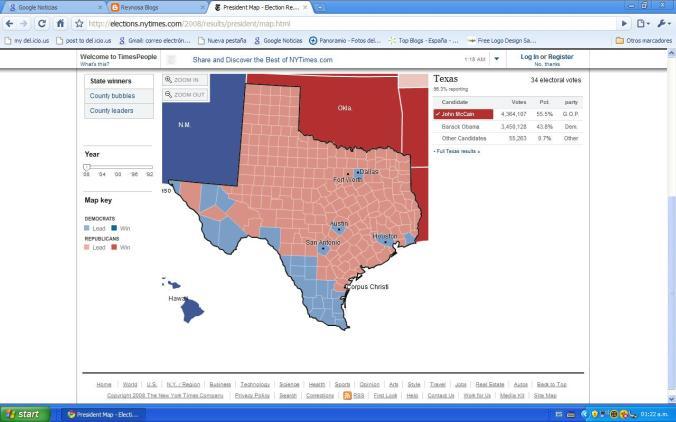 Votos Texanos gana McCain.